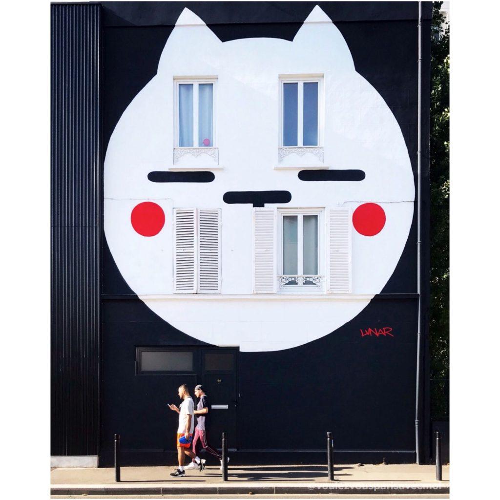 Fresque Chat de l'artiste LUNAR, à Montreuil.